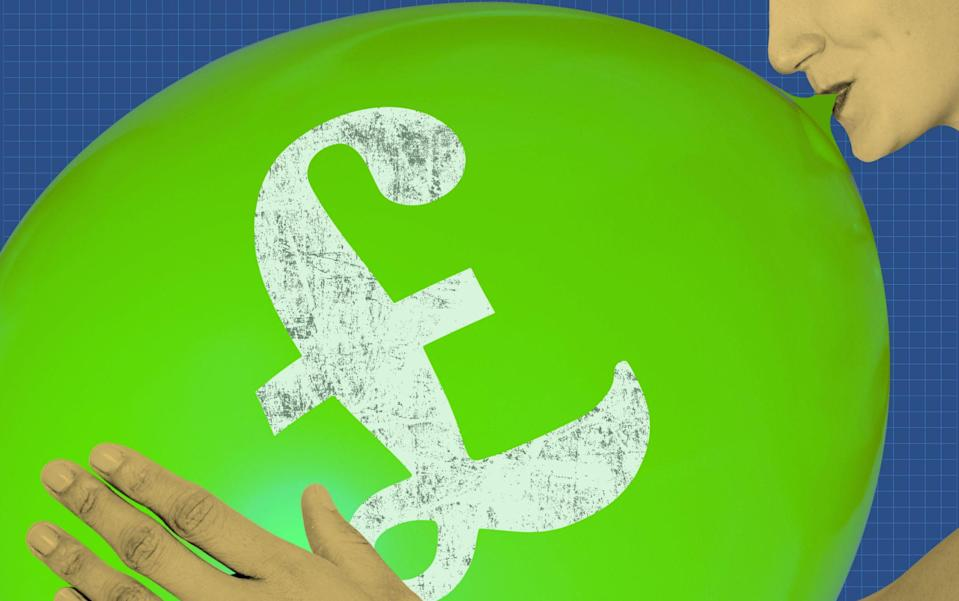 A balloon with a pound sign inflation