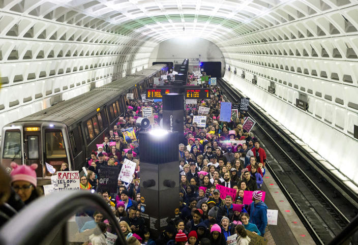 <p>Protesters arrive on the platform at the Capital South Metro station for the Women's March on Washington on Jan. 21, 2017, in Washington, D.C. (Jessica Kourkounis/Getty Images) </p>