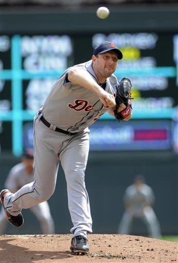 Detroit Tigers pitcher Max Scherzer throws against the Minnesota Twins in the first inning of a baseball game, Wednesday, Aug. 15, 2012, in Minneapolis. (AP Photo/Jim Mone)