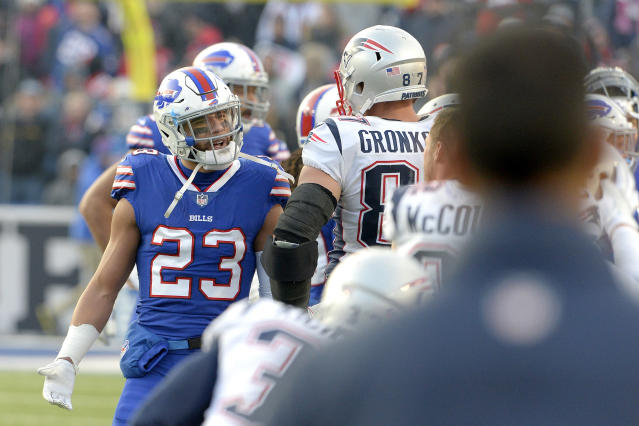 Patriots star Rob Gronkowski drew the ire of Micah Hyde (23) and the Bills after he delivered a dangerous hit to rookie Tre'Davious White. (AP)