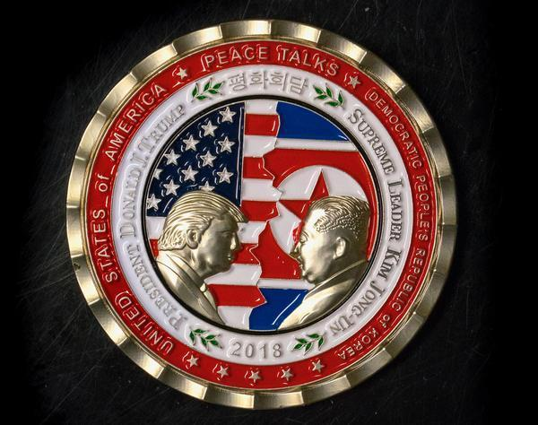 A medal released to mark peace talks between Trump and Kim Jong Un