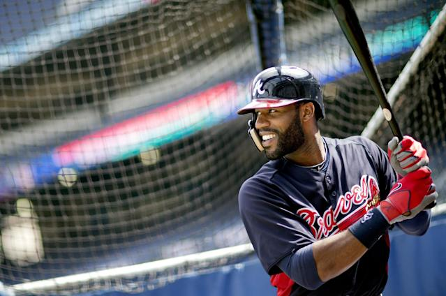 Atlanta Braves' Jason Heyward waits for a pitch during baseball batting practice on Wednesday, Oct. 2, 2013, in Atlanta. The Los Angeles Dodgers are to play the Braves in Game 1 of the National League Division Series in Atlanta, Thursday. (AP Photo/David Goldman)