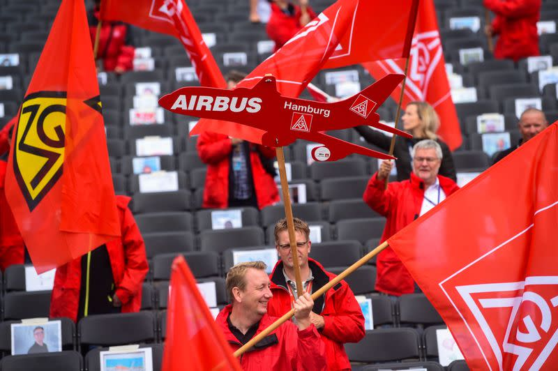 Airbus workers stage rare protest over job cuts