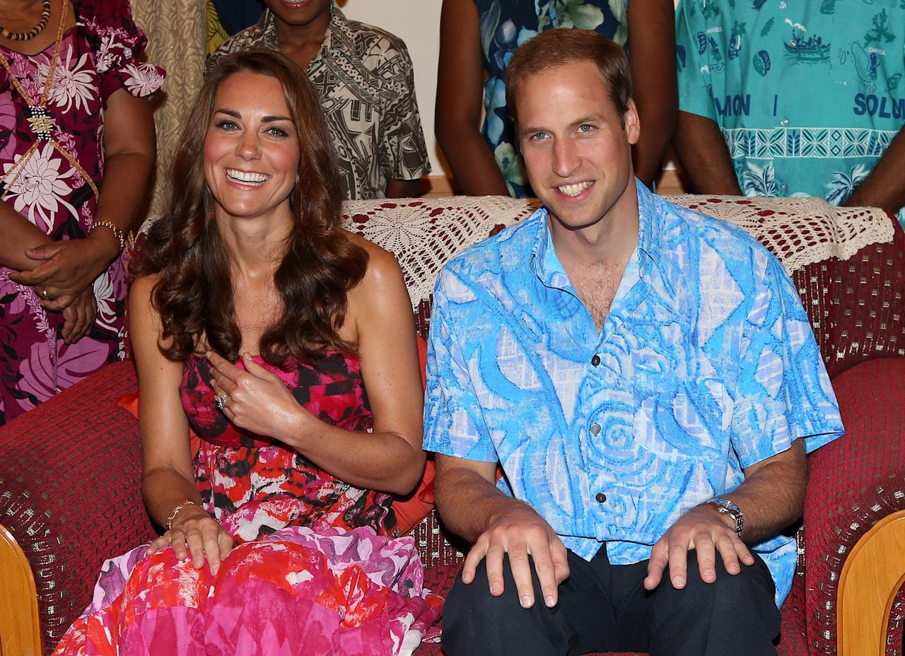 HONIARA, GUADALCANAL ISLAND, SOLOMON ISLANDS - SEPTEMBER 16:  Catherine, Duchess of Cambridge and Prince William, Duke of Cambridge pose in traditional Island clothing as they visit the Governor General's house on their Diamond Jubilee tour of the Far East on September 16, 2012 in Honiara, Guadalcanal Island. Prince William, Duke of Cambridge and Catherine, Duchess of Cambridge are on a Diamond Jubilee tour representing the Queen, taking in Singapore, Malaysia, the Solomon Islands and Tuvalu.  (Photo by Chris Jackson/Getty Images)