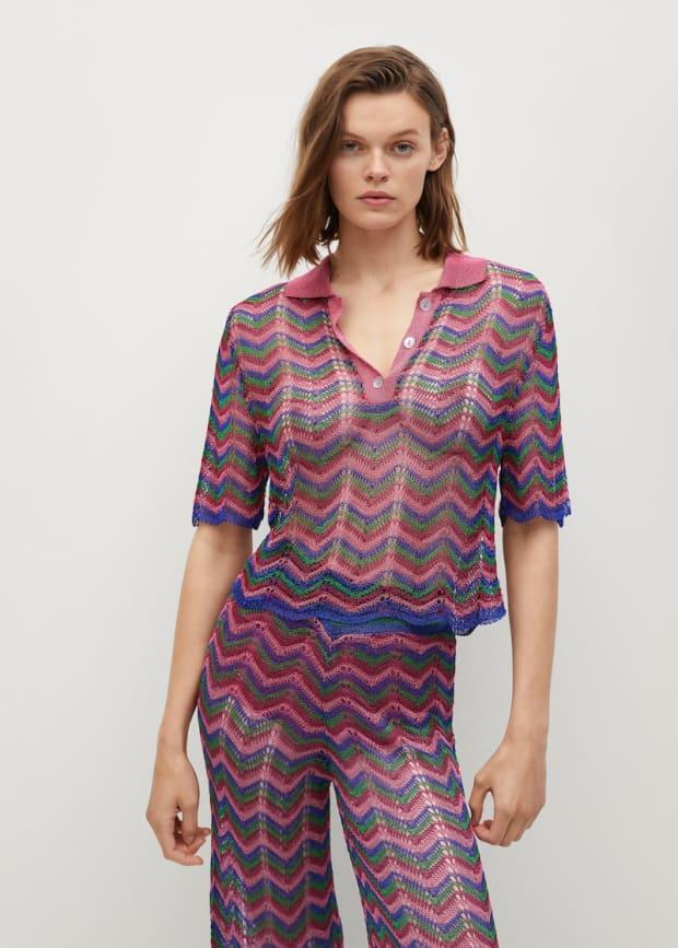 """<p>Mango Openwork Knit Polo, $60, <a href=""""https://rstyle.me/+q768VnBC8CU6lg4RGo0bEQ"""" rel=""""nofollow noopener"""" target=""""_blank"""" data-ylk=""""slk:available here"""" class=""""link rapid-noclick-resp"""">available here</a> (sizes XS-XL). </p>"""