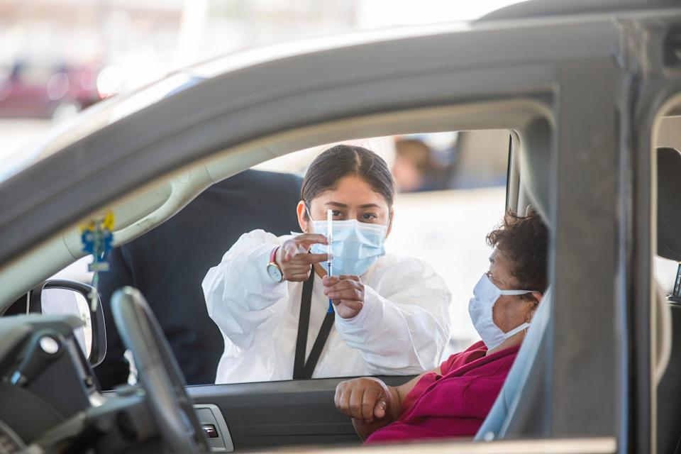 Ciudad Juarez begins its inoculation efforts against COVID-19 as the Chihuahua Health Department opens four location for the elderly on April 12, 2021.