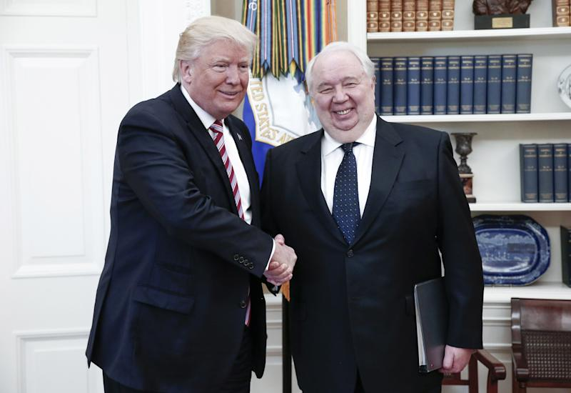 President Donald Trump shakes hands with Russian Ambassador to the United States Sergei Kislyak during talks with Russia's Foreign Minister Sergei Lavrov (not in picture) in the Oval Office at the White House.