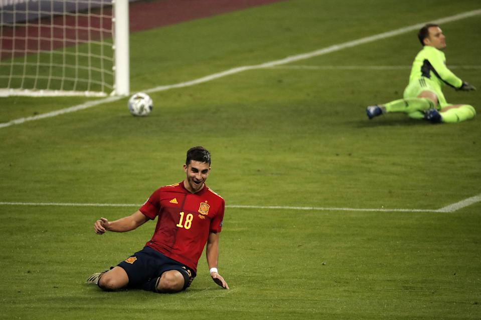SEVILLE, SPAIN - NOVEMBER 17: Ferran Torres of Spain celebrates after scoring team's fifth and his hat-trick goal during the UEFA Nations League Group stage League A Group 4 soccer match between Spain and Germany at La Cartuja Stadium in Seville, Spain on November 17, 2020. (Photo by Burak Akbulut/Anadolu Agency via Getty Images)