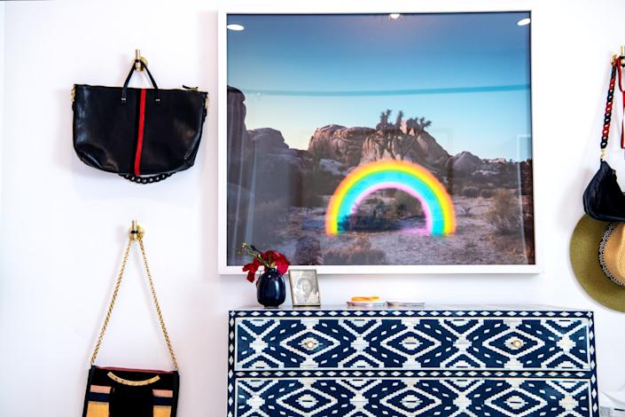 """Bags hang on a wall in the master bedroom. <span class=""""copyright"""">(Mariah Tauger / Los Angeles Times)</span>"""