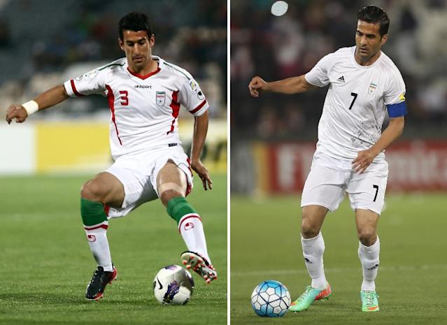 A combination photo shows Iran's Ehsan Haji Safi (L) playing during a 2014 World Cup qualifying football match and Iran's Masoud Shojaei playing during a World Cup 2018 qualifying match (AFP Photo/Behrouz MEHRI, Karim JAAFAR)