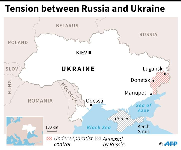 A map shows the Kerch Strait where the latest confrontation erupted (AFP Photo/Jonathan WALTER)