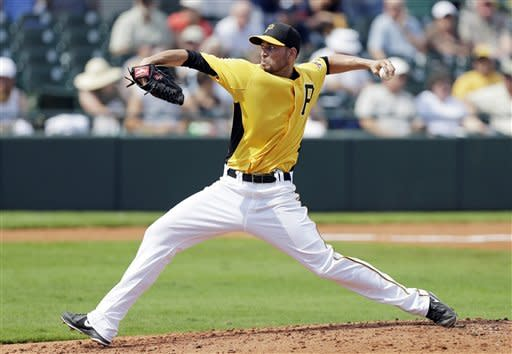 Pittsburgh Pirates pitcher Jonathan Sanchez throws a pitch during the fifth inning of a baseball spring training exhibition game against the Atlanta Braves, Sunday, Feb. 24, 2013, in Bradenton, Fla. (AP Photo/Charlie Neibergall)