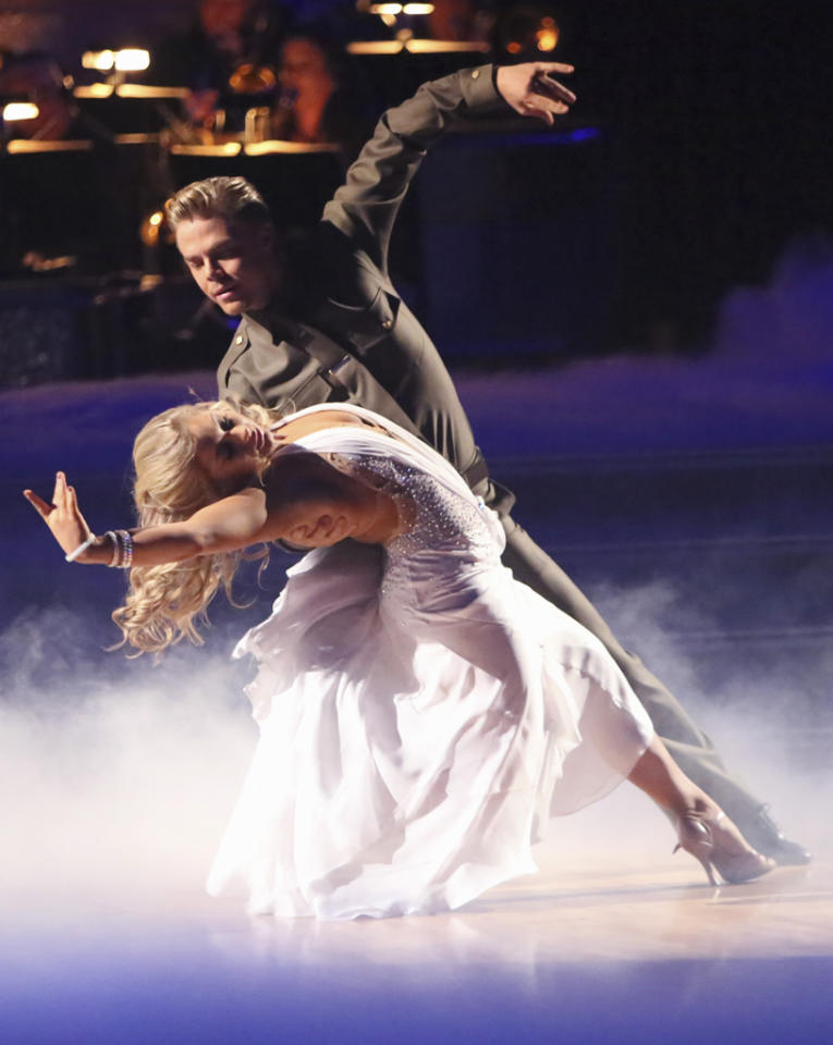 "Shawn Johnson and Derek Hough perform on ""Dancing With the Stars: All-Stars."""