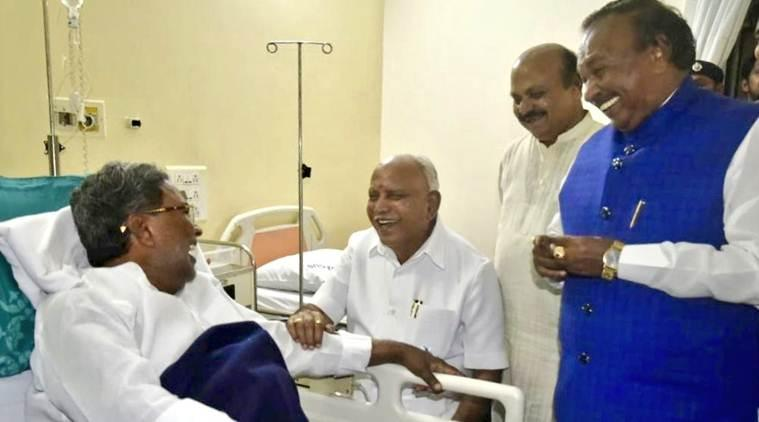 BSY meets siddaramaiah in bengaluru hospital