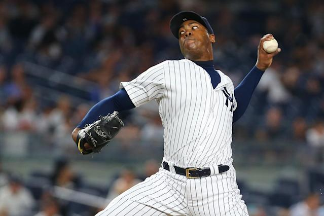 Aroldis Chapman's days in New York are likely coming to an end. (Getty Images)