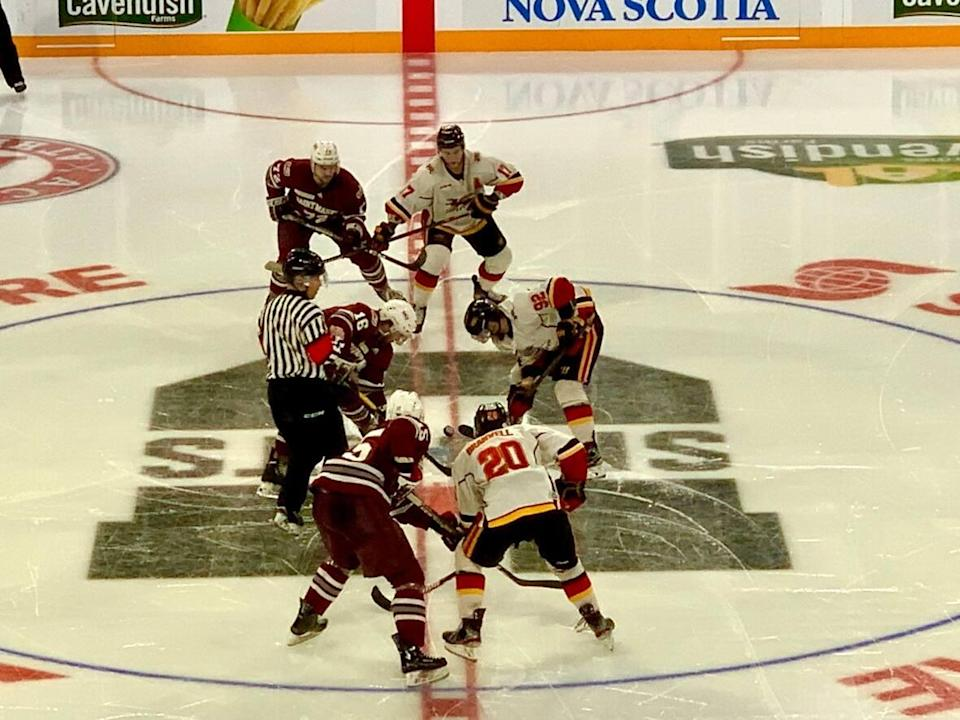 Saint Mary's University played the University of Guelph in one of two University Cup games that were played in March 2020 before the rest of the tournament was cancelled due to COVID-19. (Paul Palmeter/CBC - image credit)