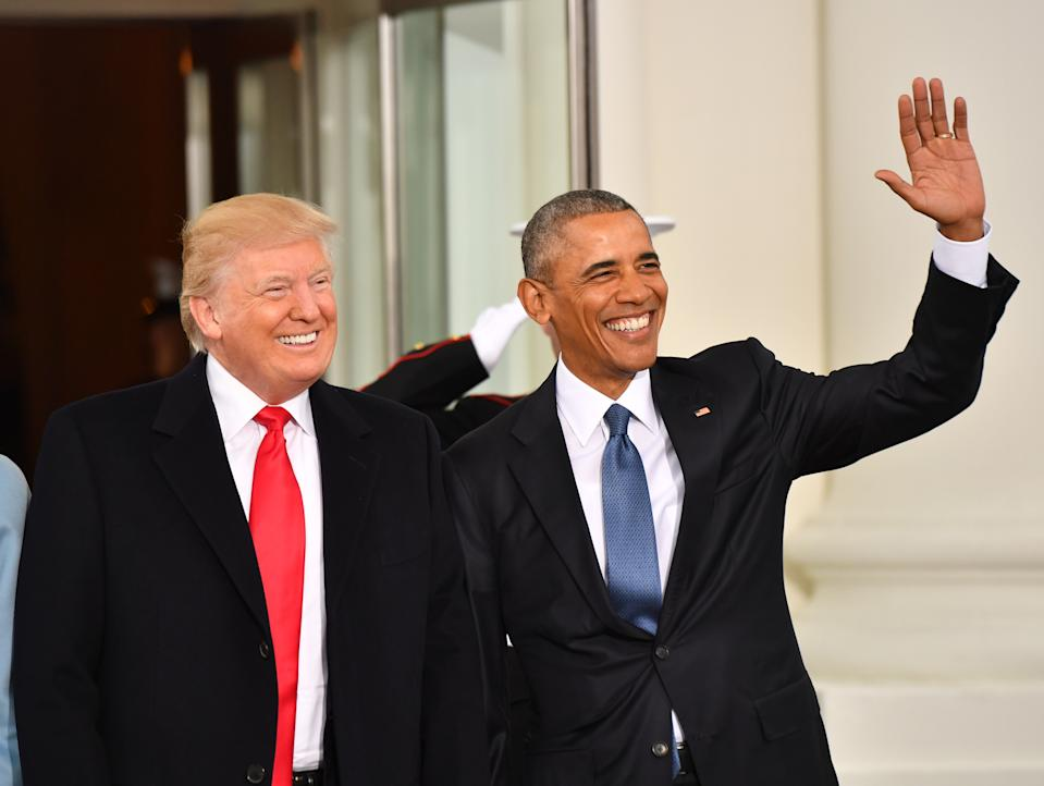 President Barak Obama (R) and President-elect Donald Trump smile at the White House before the inauguration on January 20, 2017 in Washington, D.C. Trump becomes the 45th President of the United States. Photo by Kevin Dietsch/Pool *** Please Use Credit from Credit Field ***