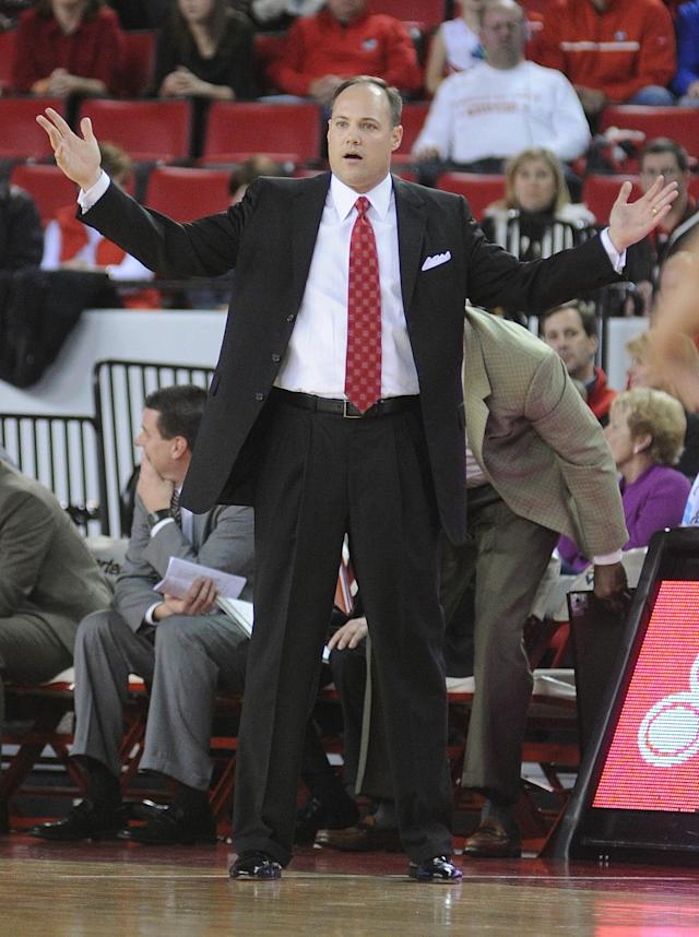 Georgia head coach Mark Fox reacts to a foul call during the first half of an NCAA college basketball game Saturday, Feb. 8, 2014, in Athens, Ga. (AP Photo/The Banner-Herald, Richard Hamm)