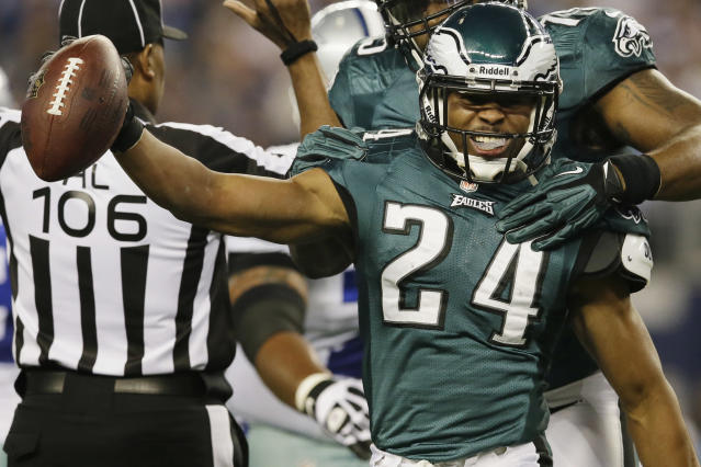 Philadelphia Eagles cornerback Bradley Fletcher (24) celebrates after recovering a fumble by Dallas Cowboys running back DeMarco Murray during the first half of an NFL football game, Sunday, Dec. 29, 2013, in Arlington, Texas. (AP Photo/Tony Gutierrez)