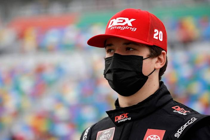 Harrison Burton, driver of the #20 DEX Imaging Toyota, waits on the grid prior to the NASCAR Xfinity Series Beef. It's What's For Dinner. 300 at Daytona International Speedway on February 13, 2021 in Daytona Beach, Fla.