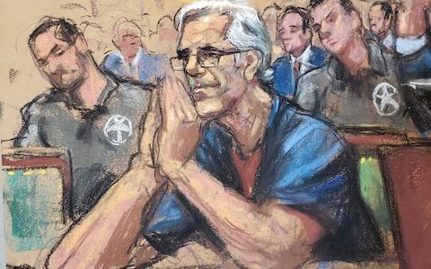 Jeffrey Epstein looks on during a a bail hearing last month  - Credit: Reuters
