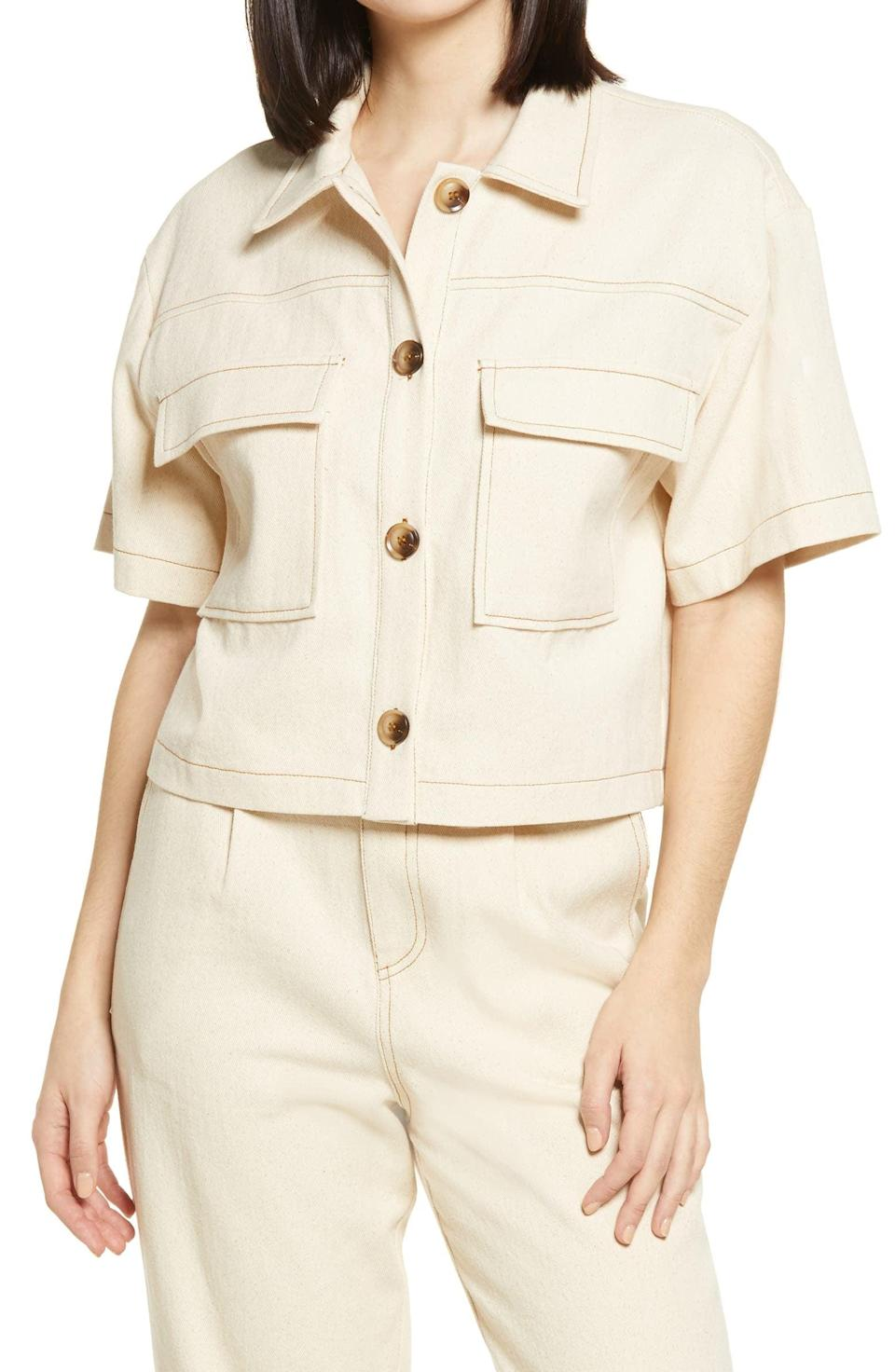<p>This effortlessly cool <span>All in Favor Button-Up Crop Top</span> ($18, originally $45) will quickly become best friends with all your favorite bottoms.</p>