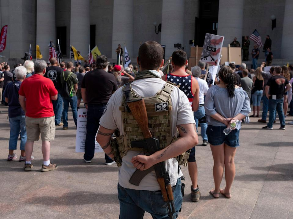 Gun rights activists protest gun control legislation at the Ohio State House on September 14, 2019 in Columbus, Ohio. (Getty Images)