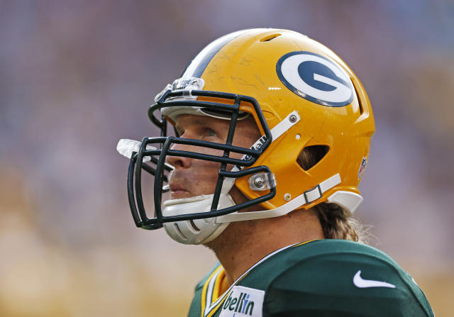 Green Bay Packers outside linebacker Clay Matthews looks up during the Family Night practice of NFL football training camp Saturday Aug. 2, 2014, in Green Bay, Wis. (AP Photo/Matt Ludtke)