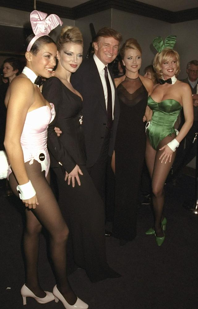 <p>Donald Trump and playmates celebrate 45 years of <em>Playboy</em> at the Life Club in New York City, Dec. 3, 1998. (Photo: Richard Corkery/NY Daily News Archive via Getty Images) </p>