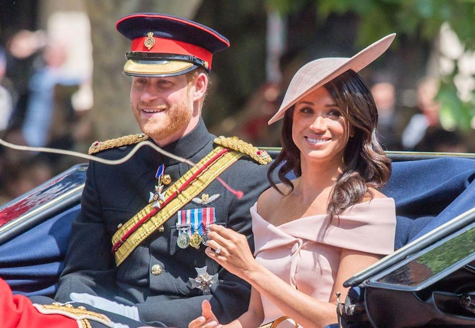 "<p><a href=""https://www.townandcountrymag.com/society/tradition/a21205479/meghan-markle-first-trooping-the-colour-appearance-kate-middleton-princess-diana-comparison/"" rel=""nofollow noopener"" target=""_blank"" data-ylk=""slk:Get all the details on Meghan's very first Trooping the Colour here."" class=""link rapid-noclick-resp"">Get all the details on Meghan's very first Trooping the Colour here.</a></p>"