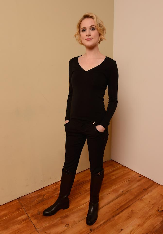 PARK CITY, UT - JANUARY 22:  Actress Evan Rachel Wood poses for a portrait during the 2013 Sundance Film Festival at the Getty Images Portrait Studio at Village at the Lift on January 22, 2013 in Park City, Utah.  (Photo by Larry Busacca/Getty Images)