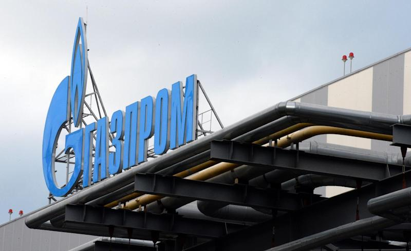 Russian gas giant Gazprom's logo is attached on the roof of a Adler thermal power plant in Sochi, Russia, November 30, 2013