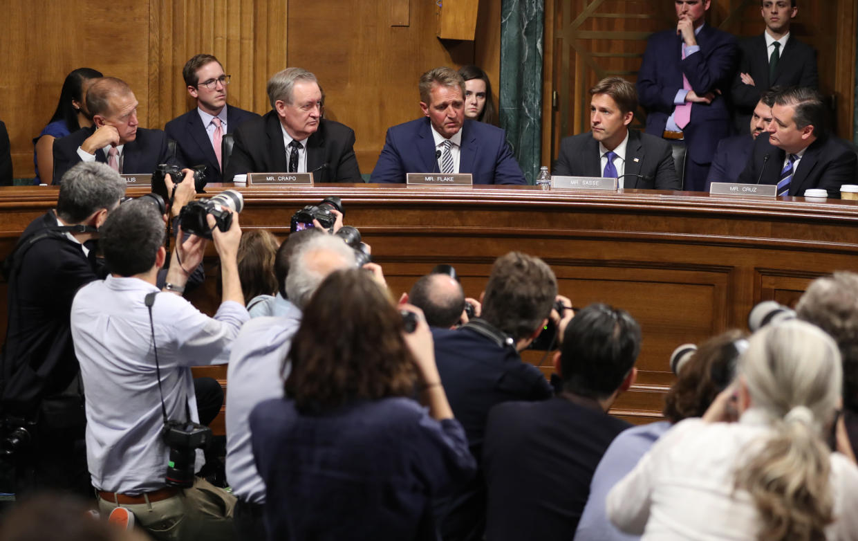 Sen. Jeff Flake, R-Ariz., speaks during the Senate Judiciary Committee meeting on Friday, Sept. 28, 2018, suggesting a brief delay in the Senate vote on Supreme Court nominee Brett Kavanaugh. (Photo: Andrew Harnik/AP)