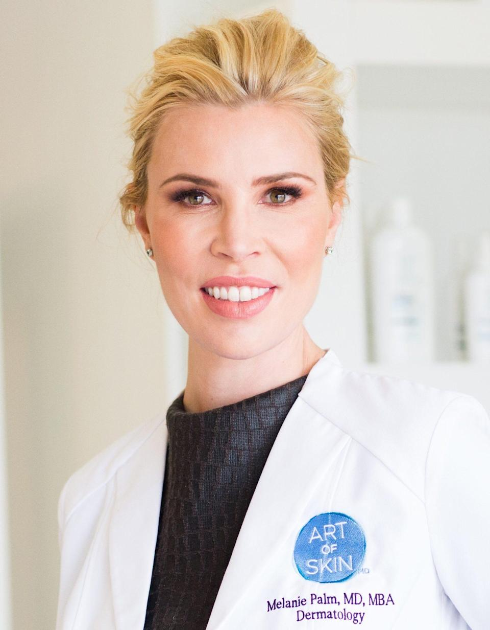 """<p><b>Skin type: </b>Combination; acne-prone (with focus on anti-aging).</p> <p><b>Approach:</b> I'm in my 40s now and suffer from adult female hormonal acne, so anti-aging and balancing skincare products that prevent breakouts and wrinkles are key! I believe in a topical and systemic approach to healing the skin so I am careful in both my skincare selection, as well as dietary and active lifestyle choices. I also use oral supplementations to support healthy skin and shift towards anti-inflammatory tendencies.</p> <p><b>Morning:</b></p> <ol> <li>Wash with the<a href=""""https://www.clarisonic.com/face-brushes/multi-function/mia-smart-connected-beauty-device/CL407.html"""" rel=""""nofollow noopener"""" target=""""_blank"""" data-ylk=""""slk:Clarisonic Mia Smart"""" class=""""link rapid-noclick-resp""""> Clarisonic Mia Smart</a> and<a href=""""https://shop-links.co/1717623473959534316"""" rel=""""nofollow noopener"""" target=""""_blank"""" data-ylk=""""slk:glycolic and alpha-hydroxy acid cleanser"""" class=""""link rapid-noclick-resp""""> glycolic and alpha-hydroxy acid cleanser</a> to treat both acne and boost skin tone and cell turnover (this is left on for three minutes while I shower).</li> <li>For the face, apply<a href=""""https://shop-links.co/1717623486085462110"""" rel=""""nofollow noopener"""" target=""""_blank"""" data-ylk=""""slk:HA toning pads from Topix"""" class=""""link rapid-noclick-resp""""> HA toning pads from Topix</a> for melasma, followed by <a href=""""https://revisionskincare.com/products/c-plus-correcting-complex-30-exclusive-antioxidant-blend-with-patent-pending-melapath-technology"""" rel=""""nofollow noopener"""" target=""""_blank"""" data-ylk=""""slk:Revision Skincare C+ Correcting Complex 30%"""" class=""""link rapid-noclick-resp"""">Revision Skincare C+ Correcting Complex 30%</a>,<a href=""""https://shop-links.co/1717623499563265666"""" rel=""""nofollow noopener"""" target=""""_blank"""" data-ylk=""""slk:Replenix Power of Three Serum"""" class=""""link rapid-noclick-resp""""> Replenix Power of Three Serum</a> and a hydrator (such as<a href=""""https://shop-links.co/1717623510908240314"""" r"""