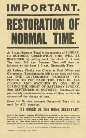Home Office poster announcing restoration of Greenwich Time, 1916  - Credit: ©Private collection