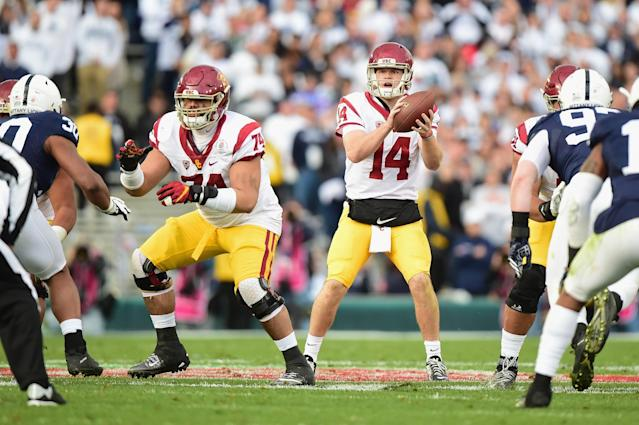 """<a class=""""link rapid-noclick-resp"""" href=""""/ncaaf/players/255254/"""" data-ylk=""""slk:Sam Darnold"""">Sam Darnold</a> has spent the spring working with a young receiving corps. (Getty)"""