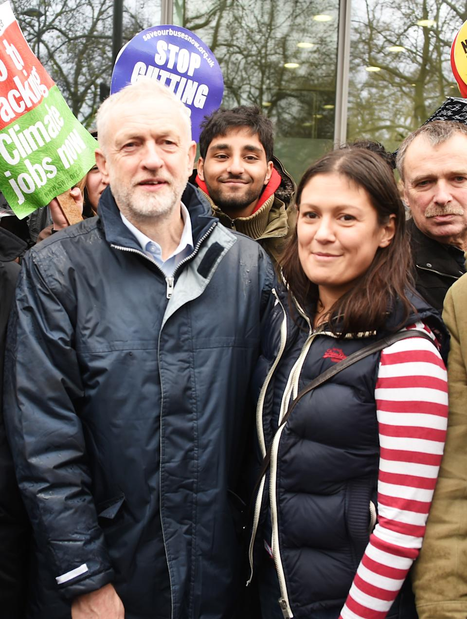 LONDON, ENGLAND - NOVEMBER 29:  Jeremy Corbyn (L), Leader of the Labour Party, and Lisa Nandy, Shadow Secretary of State for Energy and Climate Change,  attend The People's March for Climate, Justice and Jobs ahead of COP21 on November 29, 2015 in London, England.  (Photo by David M. Benett/Dave Benett/Getty Images)