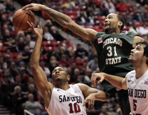 Chicago State's Jeremy Robinson (31) blocks a shot by San Diego State forward Tim Shelton (10) and picks up a foul in the first half during an NCAA college basketball game Tuesday, Jan. 10, 2012, in San Diego. (AP Photo/Gregory Bull)