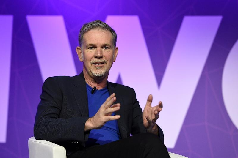 Founder and CEO of Netflix Reed Hastings speaks during a keynote speech at the Mobile World Congress in Barcelona on February 27, 2017 (AFP Photo/LLUIS GENE)