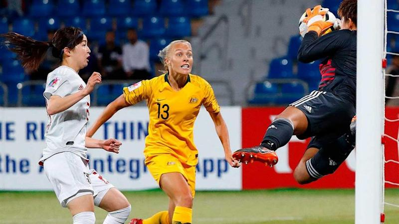 Japan's keeper kept denying the Matildas. Pic: Getty