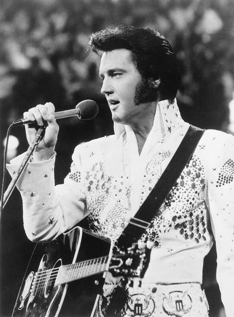 "<p>""The King"" performing in one of his signature, bejeweled costumes.</p>"