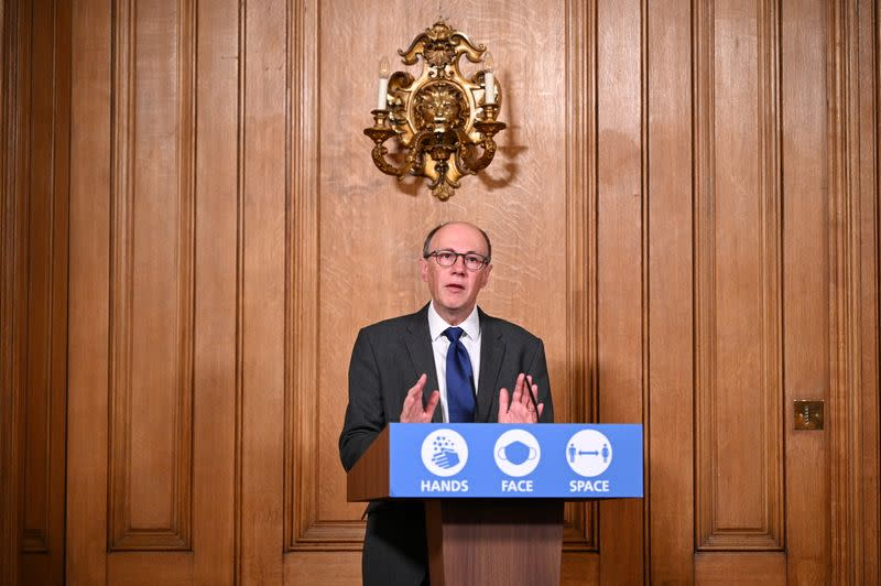 FILE PHOTO: National Medical Director at NHS England, Stephen Powis speaks during a virtual news conference on COVID-19 at 10 Downing Street, in London
