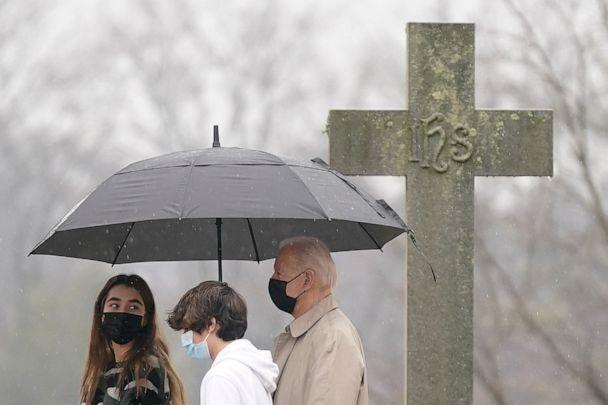 PHOTO: President Joe Biden departs after attending Mass with his grandchildren Natalie Biden, left, and Hunter Biden at St. Joseph on the Brandywine Catholic Church, Sunday, Feb. 28, 2021, in Wilmington, Del. (Patrick Semansky/AP)
