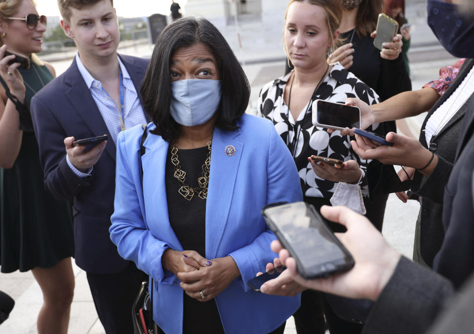 Rep. Pramila Jayapal, D-Wash., speaks to reporters as she leaves the Capitol. (Kevin Dietsch/Getty Images)