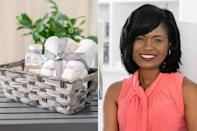 """<p><strong>Expert:</strong> Nikki Boyd, founder of <a href=""""https://www.instagram.com/athomewithnikki/"""" rel=""""nofollow noopener"""" target=""""_blank"""" data-ylk=""""slk:At Home With Nikki"""" class=""""link rapid-noclick-resp"""">At Home With Nikki</a> </p> <p>Need a guest bedroom but don't have the space? Be ready for those unexpected guests by shopping through your home and creating a guest bedroom in a bag (or bin or basket) which you can store under your bed so that you are always guest ready!</p> <p>Grab all the essentials- like a towel, toiletries, bottled water, a snack or two and even a bottle of wine - and throw them all in. It'll make guests feel like your blow-up mattress is the Ritz Carlton!</p>"""