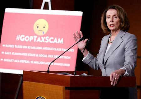 House Minority Leader Nancy Pelosi (D-CA) speaks about tax reform during a press conference on Capitol Hill in Washington, U.S., November 30, 2017. REUTERS/Joshua Roberts