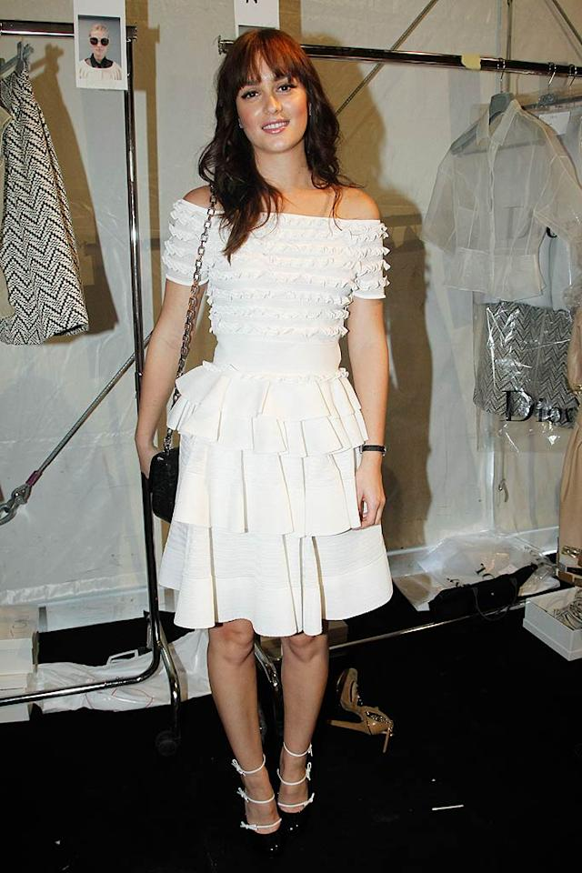 """Gossip Girl"" Leighton Meester ... looking HOT or looking NOT in a ruffled, off-the-shoulder Christian Dior dress and bow-adorned Louis Vuitton heels during Paris Fashion Week? Discuss!  Eric Ryan/GettyImages.com - September 30, 2011"