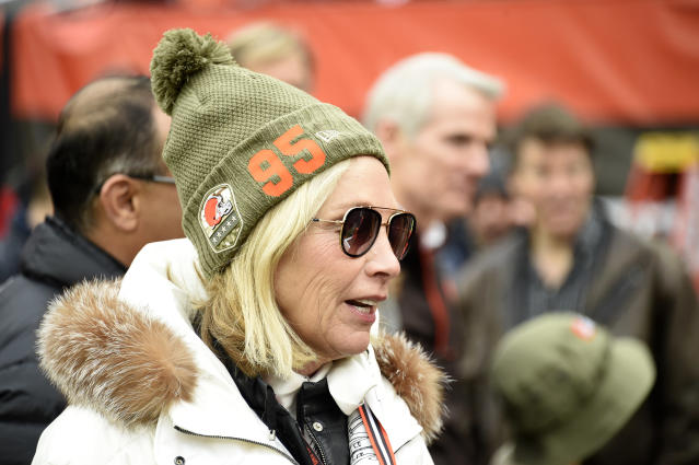 Browns team owner Dee Haslam shows support for suspended Myles Garrett before Sunday's game. (Jason Miller/Getty Images)