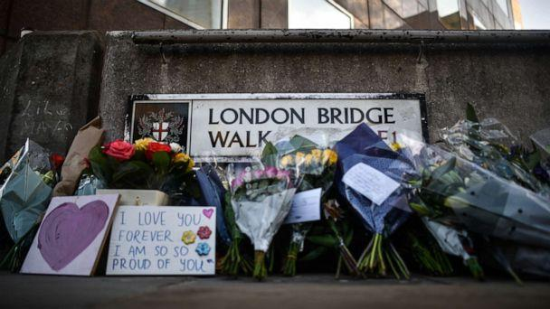 PHOTO: In this photo taken on Dec. 2, 2019, floral tributes are left for Jack Merritt and Saskia Jones, who were killed in a terror attack in London, England. (Peter Summers/Getty Images)