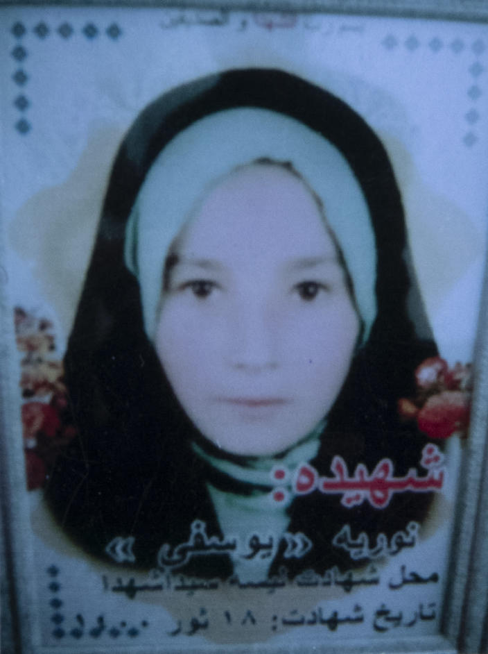 This undated photo released by the family shows Noria Yosufi who was among nearly 100 people killed in bombing attacks outside her school on May 8, 2021. Fourteen year old, Noria Yousufi, dreamed of one day being an engineer said her father Mehdi, who said kind is the one word that best described his little girl. (AP Photo)
